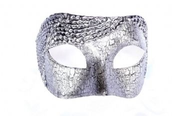 Genuine Venetian Exclusive Silver  Ornate Crackle Half Mask  (1) (1)